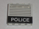 Part No: 4215ap18  Name: Panel 1 x 4 x 3 - Solid Studs with Black 'POLICE' Bar and White Stripes Pattern