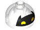Part No: 553pb028  Name: Brick, Round 2 x 2 Dome Top with Black Batgirl Mask with Pointed Ears and Yellow Eyes Pattern