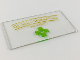 Part No: 57895pb054  Name: Glass for Window 1 x 4 x 6 with Gold 'Dr. Jones Animal Care No Snakes!' and Green Cross with Paw Print Pattern