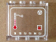 Part No: 60581pb040  Name: Panel 1 x 4 x 3 with Side Supports - Hollow Studs with Thermometer, Radioactivity Symbol and 'LL2079' in White Squares Pattern (Sticker) - Set 70816