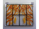 Part No: 60603pb002  Name: Glass for Window 1 x 4 x 3 - Opening with Black Bars and Flaming Skulls Pattern (Sticker) - Set 4195