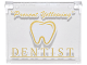 """Part No: 60603pb007  Name: Glass for Window 1 x 4 x 3 - Opening with Gold and White '""""Prevent Yellowing""""', 'DENTIST' and Tooth Pattern"""