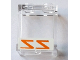 Part No: 87552pb050  Name: Panel 1 x 2 x 2 with Side Supports - Hollow Studs with Reversed Orange 'ZZ' on White Background Pattern (Sticker) - Set 75144