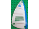 Part No: x66px13  Name: Plastic Triangle 6 x 12 Sail with Blue 8, Horizontal Gray Stripes, Vertical Blue Stripe Pattern