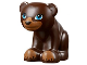 Part No: 14732pb01  Name: Bear, Friends / Elves, Cub, Sitting with Dark Azure Eyes, Black Nose and Dark Tan Paws Pattern