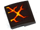 Part No: 15068pb077  Name: Slope, Curved 2 x 2 No Studs with Brown, Orange and Yellow Cracks Pattern (Sticker) - Set 70313