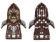 Part No: 15632pb01  Name: Minifigure, Head Modified SW Wookiee, Chief Tarfful with Dark Tan Face Fur, Teeth and Silver Hair Ornaments Pattern
