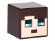 Part No: 19729pb019  Name: Minifigure, Head Modified Cube with Minecraft Pixelated Face with Dark Brown Hair and Blue Eyes Pattern