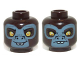 Part No: 3626cpb0972  Name: Minifig, Head Dual Sided Alien Chima Gorilla with Yellow Eyes, Protruding Front Teeth and Gray Face, Happy / Sad Pattern (G'Loona) - Stud Recessed