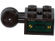 Part No: 57909bpb01R  Name: Technic, Brick Modified 2 x 2 with Ball and Axle Hole with 6 Holes in Ball with Dark Green Hatch with 2 Gold Screws Pattern (Sticker) - Set 70735