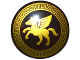 Part No: 75902pb05  Name: Minifigure, Shield Round with Rounded Front with Gold Winged Horse Pattern