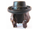 Part No: 95352pb01  Name: Minifig, Hair Combo, Hair with Hat, Long Wavy with Black Hat with Buckle Pattern