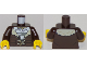 Part No: 973pb2919c01  Name: Torso Town Prisoner Shirt Under Fur-Lined Jacket with Pockets Pattern / Dark Brown Arms / Yellow Hands