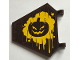 Part No: x1435pb027  Name: Flag 5 x 6 Hexagonal with Dark Brown Evil Pumpkin Face on Yellow Splatter Pattern on Both Sides (Stickers) - Set 70913