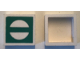 Part No: Mx1022Apb233  Name: Modulex Tile 2 x 2 with Green Circle Crossed Outline Pattern (no internal support)