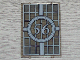 Part No: 2494pb11  Name: Glass for Window 1 x 4 x 5 with Bars and Number 56 in Circle Pattern (Sticker) - Set 4856