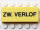 Part No: Mx1052pb003  Name: Modulex Tile 2 x 5 with Black 'ZW. VERLOF' Pattern