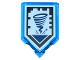 Part No: 22385pb020  Name: Tile, Modified 2 x 3 Pentagonal with Nexo Power Shield Pattern - Sword Tornado
