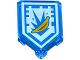 Part No: 22385pb024  Name: Tile, Modified 2 x 3 Pentagonal with Nexo Power Shield Pattern - Banana Bombs