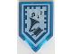 Part No: 22385pb098  Name: Tile, Modified 2 x 3 Pentagonal with Nexo Power Shield Pattern - Drop the Beat