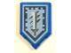 Part No: 22385pb100  Name: Tile, Modified 2 x 3 Pentagonal with Nexo Power Shield Pattern - Titanium Sword