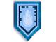 Part No: 22385pb119  Name: Tile, Modified 2 x 3 Pentagonal with Nexo Power Shield Pattern - Yeti Sneeze