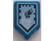 Part No: 22385pb125  Name: Tile, Modified 2 x 3 Pentagonal with Nexo Power Shield Pattern - Jumperman