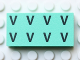 Part No: Mx1042pb52  Name: Modulex Tile 2 x 4 with Black 'V V V V V V V V' Pattern