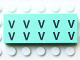 Part No: Mx1052pb004  Name: Modulex Tile 2 x 5 with Black 'V V V V V V V V V V' Pattern
