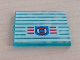 Part No: 3855pb004  Name: Glass for Window 1 x 4 x 3 with 9 White Stripes and Coast Guard Pattern (Sticker) - 6338