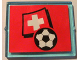 Part No: 3855pb024  Name: Glass for Window 1 x 4 x 3 with Flag of Switzerland and Soccer Ball on Red Background Pattern (Sticker) - Set 3407