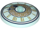 Part No: 3960pb047  Name: Dish 4 x 4 Inverted (Radar) with Clock Face Trans Light Blue with Gold Roman Numerals and White Circle with Gold Scrolls Pattern