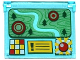 Part No: 60603pb006  Name: Glass for Window 1 x 4 x 3 - Opening with Terrain Map with Trees and Targets and Buttons Pattern