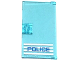Part No: 60616pb009L  Name: Door 1 x 4 x 6 with Stud Handle with 'POLICE' Blue on White Stripes Thin Font Pattern Handle on Left (Sticker) - Set 60047