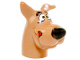 Part No: 20691pb04  Name: Dog Head Great Dane Scooby-Doo with Black Nose and Red Tongue Licking Chops Pattern
