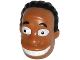 Part No: 20828pb01  Name: Minifigure, Head Modified Simpsons Dr. Hibbert with Black Hair Pattern