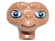 Part No: 27956pb01  Name: Minifigure, Head Modified Alien E. T. with Wide Medium Blue Eyes and Dark Brown Closed Smile Pattern