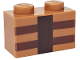 Part No: 3004pb123  Name: Brick 1 x 2 with Reddish Brown and Dark Brown Minecraft Crafting Table Lines Pattern