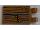 Part No: 30350bpb067  Name: Tile, Modified 2 x 3 with 2 Clips with Wood Grain and 4 Nails Pattern (Sticker) - Set 21310