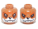 Part No: 3626cpb1014  Name: Minifig, Head Dual Sided Alien Chima Fox with White and Orange Face Markings, Happy / Fierce Pattern (Furty) - Stud Recessed