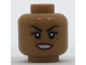 Part No: 3626cpb1714  Name: Minifigure, Head Female Black Eyebrows, Eyelashes, Beauty Mark Under Left Eye, Dark Red Lips Pattern - Hollow Stud