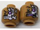 Part No: 3626cpb1788  Name: Minifig, Head Dual Sided Alien Black Moustache, Skeleton with Lavender Eye Showing through Torn Flesh Left, Angry / Scared Pattern - Stud Recessed