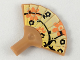 Part No: 93553pb01  Name: Minifigure, Utensil Hand Fan with Orange and Black Flowers on Yellow Background Pattern