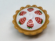 Part No: 93568pb003  Name: Pie with White Cream Filling and Six Red Strawberries with Green Leaves Pattern