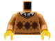 Part No: 973pb2342c01  Name: Torso Argyle Sweater with White Shirt Collar and Button Pattern / Medium Dark Flesh Arms / Yellow Hands