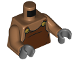 Part No: 973pb3114c01  Name: Torso Reddish Brown Overalls with Gold Buttons Pattern / Medium Dark Flesh Arms / Dark Bluish Gray Hands