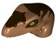 Part No: 98065pb07  Name: Dino Head Raptor with Pin Hole, Tan Teeth and Dark Brown Markings Pattern