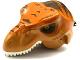 Part No: 98161c03pb01  Name: Dino Head T-Rex with Pin, White Teeth, Dark Orange Top and Dark Brown Stripes Pattern