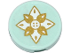 Part No: 14769pb078  Name: Tile, Round 2 x 2 with Bottom Stud Holder with Flower with Gold and White Petals Pattern (Sticker) - Set 41078