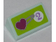 Part No: 85984pb026  Name: Slope 30 1 x 2 x 2/3 with Heart and Purple Number 2 in White Circle on Lime Background Pattern (Sticker) - Set 41007